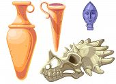 Archaeological And Paleontological Finds Cartoon Vector Illustration. Ancient Ceramic Vases Or Ampho poster