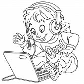 Colouring Page. Cute Cartoon Young Gamer, Cyber Esport Professional In Work. Childish Design For Kid poster