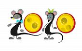 Chinese New Year 2020 Year Of The Rat , Red Paper Cut Rat Character With Craft Style On White Backgr poster