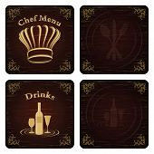 Golden Chef And Drink Menu Cover Vector Set