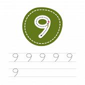Learning To Write A Number - 9. A Practical Sheet From A Set Of Exercises For The Development And Ed poster