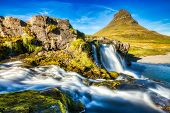 Iceland Landscape Summer Panorama, Kirkjufell Mountain During A Sunny Day With Waterfall In Beautifu poster