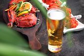 Indian Beer. Traditional Indian Beer And Traditional Oriental Dishes. Indian Restaurant poster