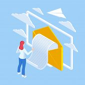 Isometric Email Inbox Electronic Communication. E-mail Marketing. Receiving Messages. New Mail Recei poster
