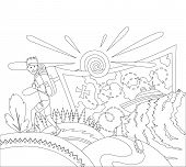 Go Travel Concept Coloring Book Page. A Tourist With A Backpack Goes On The Mountains. Travel Bag An poster