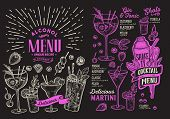 Cocktail Drink Menu Template For Restaurant With Doodle Hand-drawn Graphic. poster
