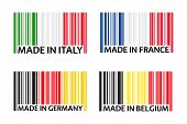 Set Of Four Bar Code Symbols Made In Italy, Made In France, Made In Germany And Made In Belgium, Sim poster