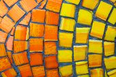Background From Orange And Red Matte Mosaic. Painting Of Orange Street Mosaic. Orange And Yellow Pat poster