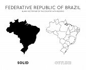 Brazil Map. Blank Vector Map Of The Country With Regions. Borders Of Brazil For Your Infographic. Ve poster