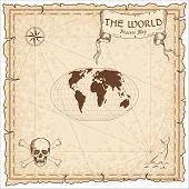 World Treasure Map. Pirate Navigation Atlas. Mcbryde-thomas Flat-polar Quartic Pseudocylindrical Equ poster
