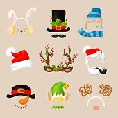 Christmas Photo Prop Booth Mask Collection. Santa, Deer Horn With Berries, Snowman, Lop-eared Hare E poster