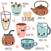 Set Of Different Kinds Of Tea With Smile Faces. Vector Illustration Flat Style. Green, Black Tea, Ma poster