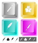 Bildung Symbolsatz. Pinsel, Fall, Feder, Bleistift. Computerschlüssel. Vektor-Illustration.