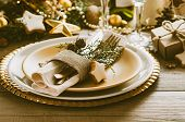 Christmas Or New Year Table Setting. Place Setting For Christmas Dinner. Holiday Decorations. poster