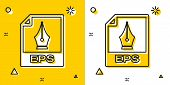 Black Eps File Document. Download Eps Button Icon Isolated On Yellow And White Background. Eps File  poster