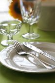 stock photo of banquette  - A table set for a dinner banquette with selective focus and