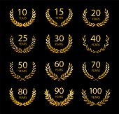 Set Of Anniversary Laurel Wreaths. Gold Anniversary Symbols Isolated On Black Background. 10, 15, 20 poster
