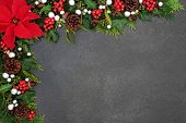 Poinsettia flower background border with silver ball baubles, holly, mistletoe and winter flora on g poster