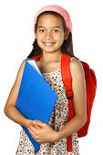 133 Schoolgirl With Red Rucksack And Blue Folder