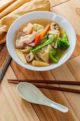 Subgum Wonton Soup With Pork Shrimp Chicken And Mixed Chinese Vegetables poster