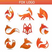 Creative Fox Animal Modern Simple Design Concept Logo Set, Fox Animal Face Modern Simple Design Conc poster