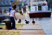 Girl Feeding Ducks At Landing Stage.