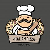Pizza Logo. Hand Drawn Vector Illustration Of Chef-cooker With A Mustache And Pizzas. Italian Chef L poster