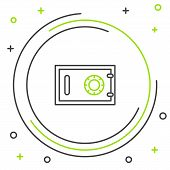 Black And Green Line Safe Icon Isolated On White Background. The Door Safe A Bank Vault With A Combi poster