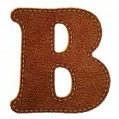 Leather alphabet. Leather textured letter B. Raster copy of vector illustration