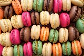 stock photo of french pastry  - Colorful macaroons background - JPG