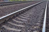 Railway In Tula Region, Russia. Railway Track, Rails And . Nobody. Transportation. poster