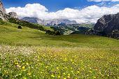 Blick vom Passo Gardena Alias Grodner Joch Sella Gruppe Dolomiti Italien