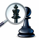 image of ascending  - Future leader business concept with a chess game pawn and a magnifying glass showing a change to a king figure as a symbol of a rise to success and career promotion for greatness - JPG