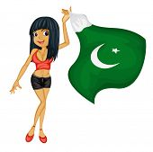 Illustration of a smiling girl with a national flag of Pakistan on a white background