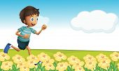 Illustration of a boy running in a beautiful nature