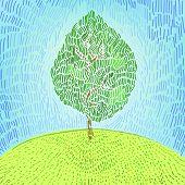Artistic green tree on a hill vector illustration