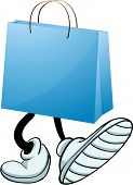 Illustration of a gift bag with feet on a white background