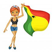 Illustration of a smiling girl with a national flag of Ghana on a white background
