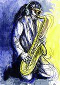 stock photo of sax  - A hand drawn illustration  - JPG