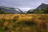 View Along Llanberis Pass Towards Glyder Fawr And Snowdon
