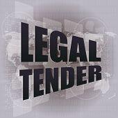 Interface de tela de toque com palavras de curso Legal