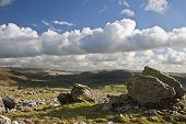 pic of errat  - Atop Norber Erratics looking towards Wharfe Dale in Yorkshire Dales National Park - JPG