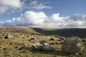 stock photo of errat  - View from Norber Erratics in Yorkshire Dales National Park down past Moughton Scar to Wharfe Dale - JPG