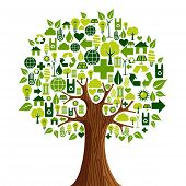 pic of environmental conservation  - Environmental conservation icons set in tree shape - JPG