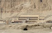 stock photo of mortuary  - sunny scenery including the Mortuary Temple of Hatshepsut in Egypt - JPG