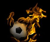 soccer football on fire