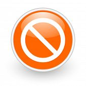 access denied orange circle glossy web icon on white background