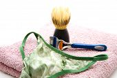 Shaver with Shaving brush and Woman Panties