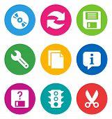 color circular basic interface icons isolated on white background/ basic interface icons