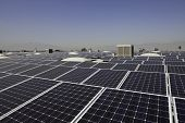 Paneles solares en una planta de energía solar